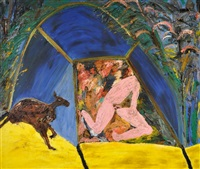 man in tent by davida allen