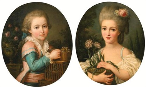 portrait of a young girl holding a flower pot portrait of a young boy feeding two birds 2 works by marie victoire lemoine