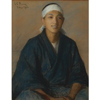 japanese boy with headband by lilla cabot perry