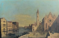 the grand canal from santa maria della carità looking towards the bacino di san marco by francesco tironi