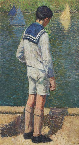 petit garçon au bord du bassin du jardin du luxembourg à paris by henri jean guillaume martin