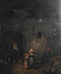 a barn interior with children drinking milk from a bowl by ignaz raffalt