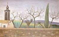 paisaje con ciprés by godofredo giménez