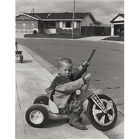 reagan on tv (+ 3 others; 4 works from suburbia) by bill owens