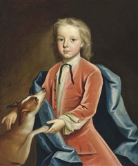 portrait of a boy in a red coat and blue wrap, with his hound by joseph highmore
