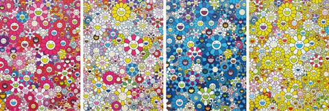 an homage to monopink 1960 d an homage to monogold 1960 d an homage to ikb 1957 d and an homage to yves klein multicolor d 2012 4 works by takashi murakami