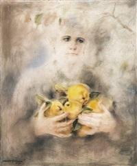 mujer con membrillos by marcelo gongora