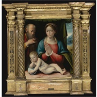 the madonna and child with saint joseph by giacomo raibolini
