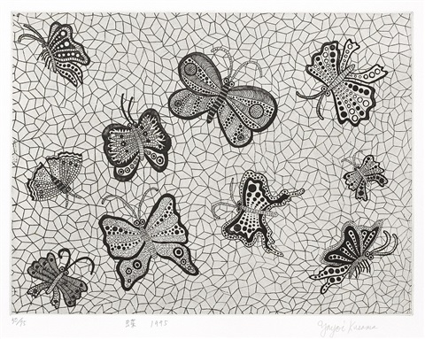 butterflies sold with 26bc set of 3 by yayoi kusama