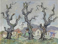 three bare oak trees with suburban cottages, wynberg, cape town by gregoire johannes boonzaier