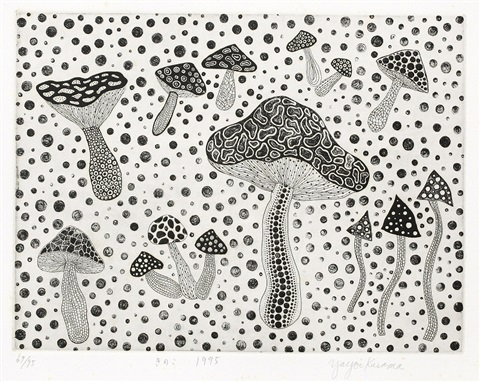 mushrooms sold with 26ac set of 3 by yayoi kusama