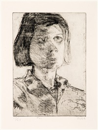 #21 (portrait of phyllis) (from 41 etchings drypoints portfolio) by richard diebenkorn