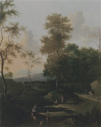 an evening landscape with travellers and fishermen on a track, an aqueduct beyond by timotheus de graef