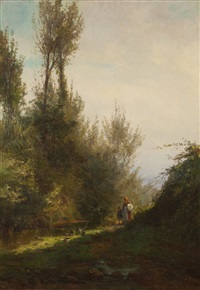 landscape with figures by alfredo keil