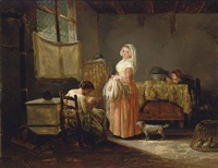 women and children in a kitchen interior by marc antoine bilcoq