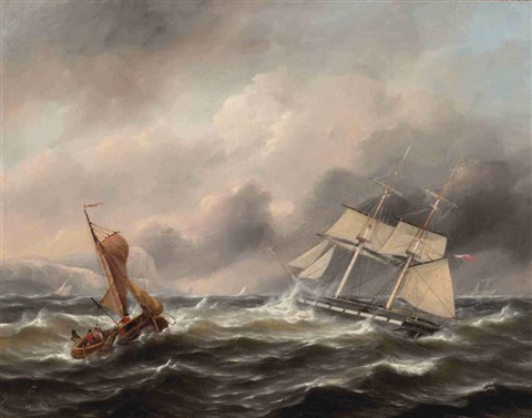 two boats in stormy weather the shore in the distance by govert van emmerik