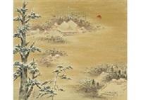 snowscape in iwashimizu hachiman-gu shrine by yoson ikeda