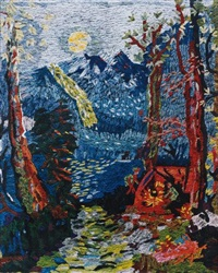 evening in the woods, after grandma moses from pictures of pigment by vik muniz