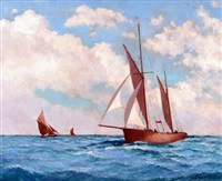 ketch and leigh bawleys at sea by hugh boycott-brown