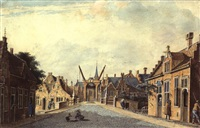 street scene in schiedam, with a school to the right by theodor (dirk) verryck