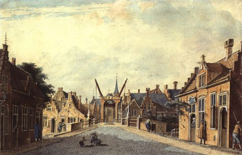 street scene in schiedam with a school to the right by theodor dirk verryck