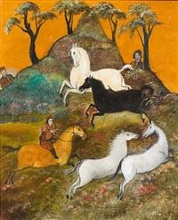 a rider rounding up horses by tassaduq sohail