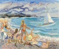baigneuses sur la plage by jean claude aujame