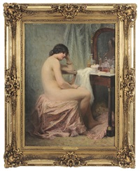 contemplative woman at a dressing table by louise amelie landre
