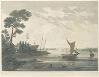 norfolk: from gosport, virginia (+ 5 others; 6 works from picturesque view of american scenery) by john hill