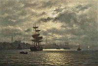 hamburg harbor under the moon by wilhelm ferdinand xylander