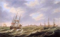 shipping off a harbour (flushing?) by engel hoogerheyden