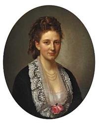 portræt af caroline charlotte suhr i mørk kjole med blondekrave og lyserøde roser ved udskæringen by henrik benedikt olrik