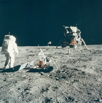 buzz aldrin looks back at tranquillity base, apollo 11, july 1969 by neil armstrong