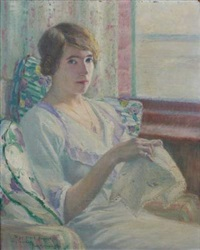 femme à sa broderie by frank milton armington