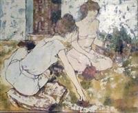 jeunes femmes au potager by bernard dufour