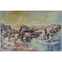 western confrontation among cattle men and indian along a river bank by james mansfield