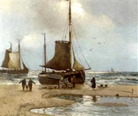fishermen offloading the catch by hans wacker-elsen