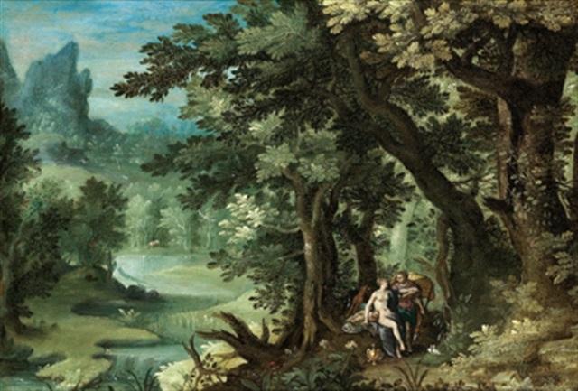 waldlandschaft mit venus, adonis und dem schlafenden amor (collab. w/hendrick de clerck) by denis van alsloot