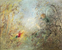 the angel delivering the baby jesus to the bush children by david boyd