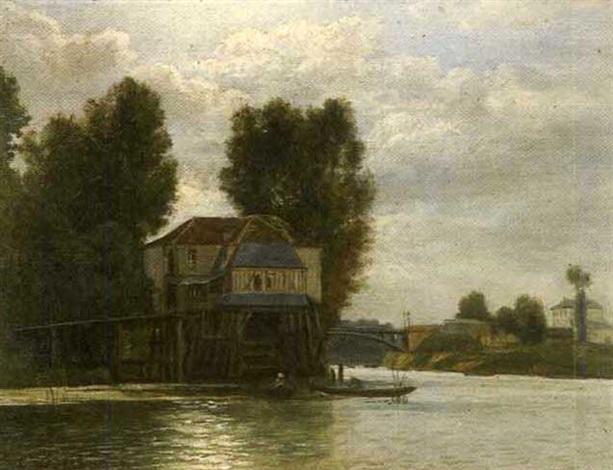 barques de pêcheurs sur un fleuve by charles félix edouard deshayes