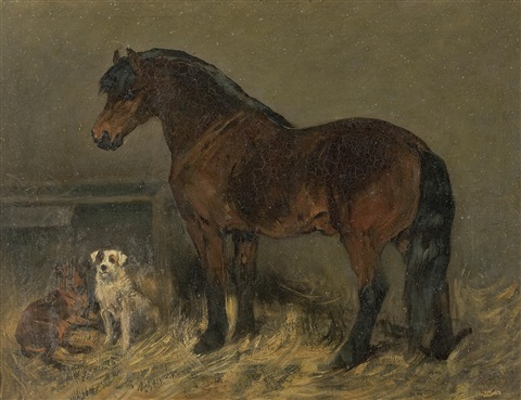 horse in a stable with two dogs by john emms