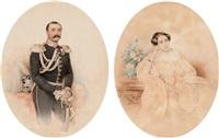 portrait of prince alexander fedorovich golitzin prozorovskii (+ portrait of maria alexandrovna l'vova; 2 works) by petr fedorovich sokolov