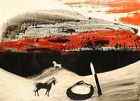 red and black landscape with horse by charles s pic higgins