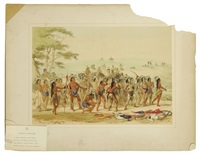 archery of the mandans, pl. 24 (from catlin's north american indian portfolio: hunting scenes and amusements of the rocky mountains and prairies of america) by george catlin