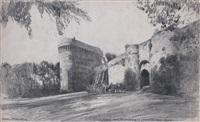 vue de la fausse porte du château de la duchesse anne à dinan (+ 5 others; 6 works) by frank lewis emanuel