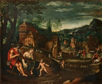 figures in a landscape, possibly an allegory of july by simon de vos