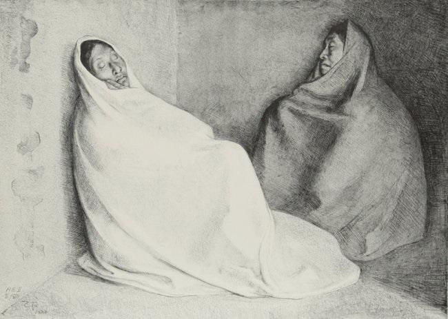 dos mujeres sentadas state ii by francisco zúñiga
