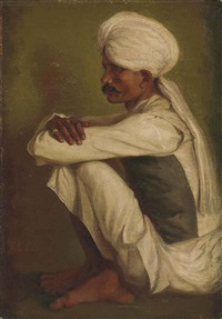 portrait of a sikh man, sitting cross-legged by r.e. lloyd