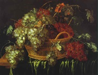 bunches of grapes in a basket on a partly draped table by wouter mertens