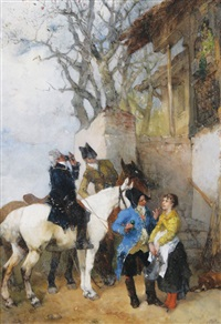 figures outside a tavern by paul burmeister